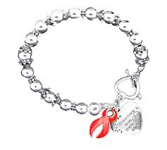 silver bracelet with heart charm images Heart disease awareness silver ribbon and heart charm bracelet png