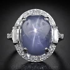 rings star sapphire images Large art deco star sapphire and platinum diamond ring jpg