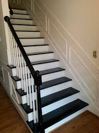 black painted staircase and arm rail after carpet removed new
