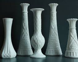 White Glass Vase Vintage Antique Milk Glass Etsy