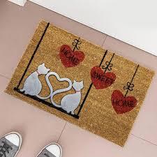 zerbino di cocco tappeto zerbino fibra di cocco cats con figura rilievo in