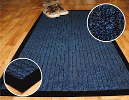 high quality deluxe large runner 66 x 120 cm blue ribbed