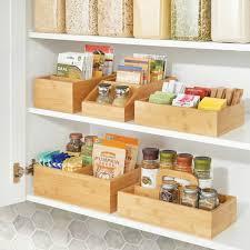 kitchen food storage cupboard bamboo kitchen food container lid organizer bin 11 5 x 7 5 x 3 75