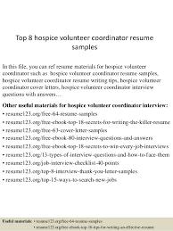 Volunteer Resume Sample by Top 8 Hospice Volunteer Coordinator Resume Samples 1 638 Jpg Cb U003d1431830290