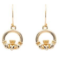 10k earrings gold claddagh earrings
