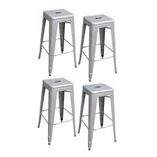 White Metal Bar Stools Amerihome Loft Style 30 In Stackable Metal Bar Stool In Silver