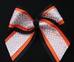 african american cheer hair bows cheerleading blacl and orange custom cheerleader 3 layer sequin