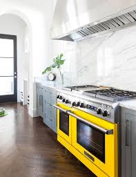 Yellow Kitchen Cabinet Gray Kitchen Cabinets With Yellow Stove Contemporary Kitchen