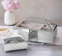 jewelry box favors conservatory metal glass jewelry box pottery barn