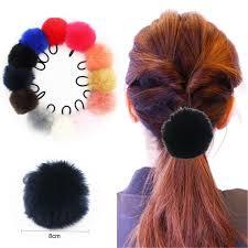 hair scrunchies furling 12pcs mix colors 7cm 8cm faux rabbit fur pom pom balls