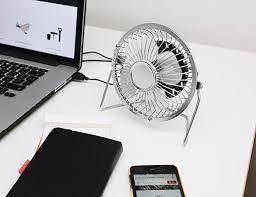 usb desk fan silver u2013 kikkerland design inc
