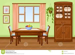 the dining room play dining room interior with table and cupboard vector illustration