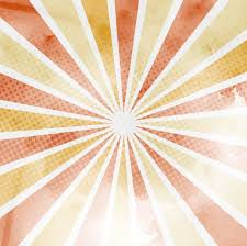 background with sun rays and halftone dots warm tones vector