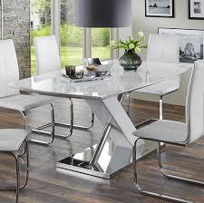 Esszimmer Holz Grau Essgruppe Lena Esstisch Hochglanz 6 Freischwinger Weiß Modern