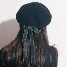 barret hat black harajuku beret hat with bowknot sp178862 spreepicky