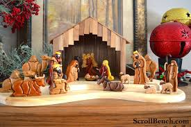 Scroll Saw Christmas Decorations - scroll bench nativity scene intarsia