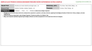 Electronics Engineer Resume Sample by Hfc Design Engineer Resumes Samples