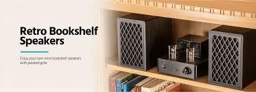 Bookshelf Speaker Shelves Retro Bookshelf Speakers 4 Inch 2 Way Black Pair Monoprice Com