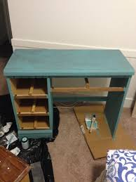 old desk makeover with a turquoise whitewashed finish