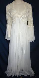 wedding peignoir sets vintage 70s white nightdress gown set by sownthreads