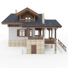 chalet european small house 3d model cgstudio