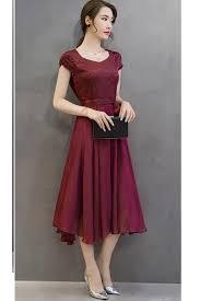 silk dresses unomatch women silk printed top bow waist prom dress vine