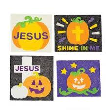 Religious Halloween Crafts - christian pumpkin each shape to be glued on is a symbol