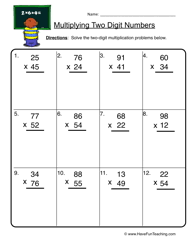 two digit times one digit multiplication worksheets multiplication worksheets teaching