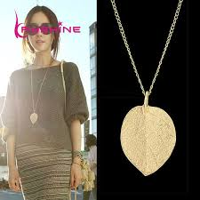 fashion pendant necklace images Cheap fashion jewelry maxi necklace gold color chain leaf design jpg