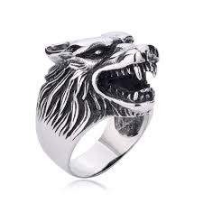 ring men wolf ring animal ring titanium stainless steel men ring ring