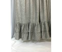 Grey Shabby Chic Curtains by A Pair Of Chambray Grey Curtains With Double Layer Ruffle Hem
