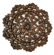 wood plaque carved lotus teak wood wall hanging