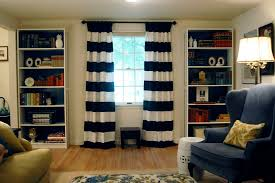 Navy Blue And White Striped Curtains On Sewing Pinch Pleated Curtains Little Green Notebook