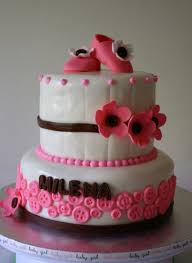 pink and brown baby shower cake with gumpaste booties lolo u0027s