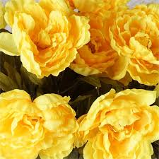 yellow peonies 42 pcs silk peony high quality peonies flowers wedding bouquets