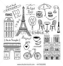 hand drawn paris france clipart doodles stock vector 447581095