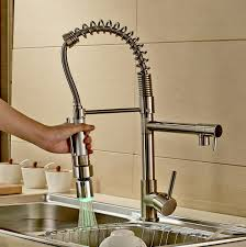 iron faucet for kitchen sink single hole handle pull out spray