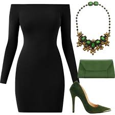 black neck from necklace images Bardot neck little black dress with green statement necklace jpg