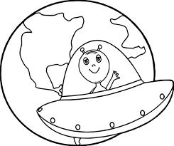 earth globe alien coloring page wecoloringpage