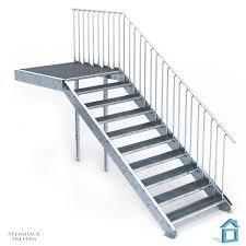steinhaus treppen außentreppe stahl mit 10 stahlstufen 120 cm treppenbreite mit
