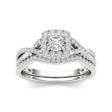 overstock wedding ring sets de couer 10k gold 3 4ct tdw diamond halo bridal ring set free