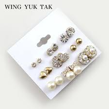 stud earrings 9 pairs set earrings fashion shiny gold color