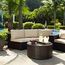 crosley outdoor wicker round sectional sofa with coffee