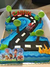 paw patrol 2nd birthday cake shaped number cakes