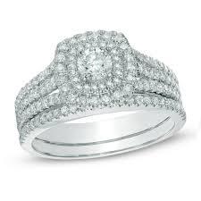 bridal set wedding rings 1 ct t w certified canadian diamond frame bridal set in