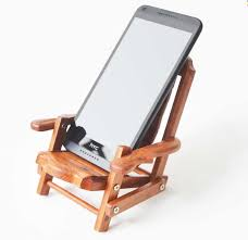 wooden deck chair desk mobile phone display holder stand