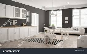 white and grey modern kitchen minimalist modern kitchen dining table living stock illustration