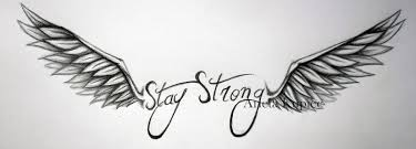 stay strong with wings tattoo design