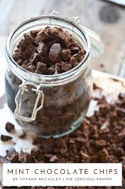 eating homemade mint chocolate chips recipe
