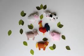 pattern felt ornaments 6 farm animals mobile country crib